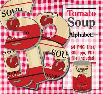 "Soup Label Alphabet 64 pcs 3.25"" High, 300 DPI PNG & PDF Vector"