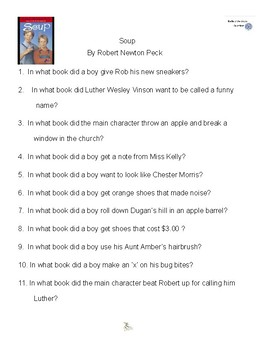 Soup by Richard Peck, Battle of the Books Questions