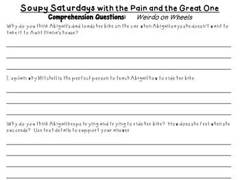 Soupy Saturdays with the Pain and the Great One by Judy Blume: Literature Study!