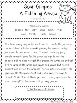Sour Grapes Fable: CCSS Aligned Leveled Reading Passages and Activities