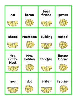 Sour Lemons {First Grade Nouns & Adjectives Game}