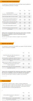 Source Evaluation Google Form for Middle School and High School