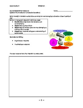 Source Based Written Response Question 1 Social Studies 9