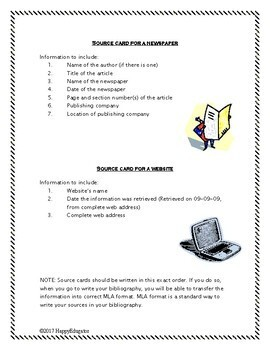 Source Cards Reference Sheets and Practice Activity - MLA Format