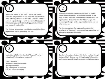 Evaluating Sources for Credibility | Digital Task Cards for Google Drive
