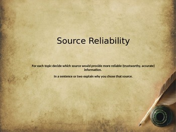 Source Reliability and Validity in Social Studies