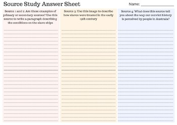 Source Study for Year 9 History (Aus)