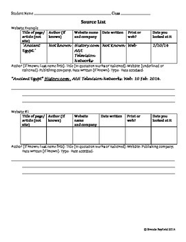 Source Worksheet for MLA