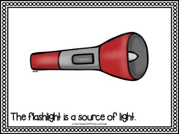 Sources Of Light Emergent Reader Book AND Interactive Activities