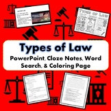 Types of Law Bundle SS.7.C.3.10 PowerPoint, Notes, Word Search & Coloring Page