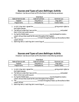 Sources and Types of Law Vocabulary Bellringer