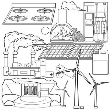 Sources of Energy Clip Art Set