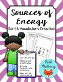 Sources of Energy Sort & Vocabulary Practice - VA Science SOL 3.11