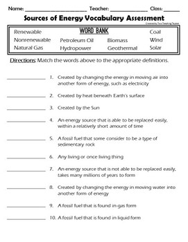 Fossil Fuels and Alternative Energy Vocabulary Puzzles