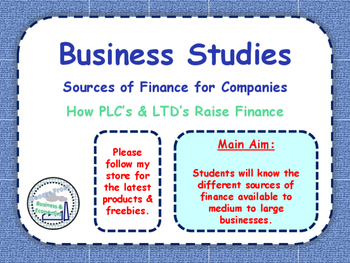Sources of Finance for Large Businesses / Companies - Growing as a Business