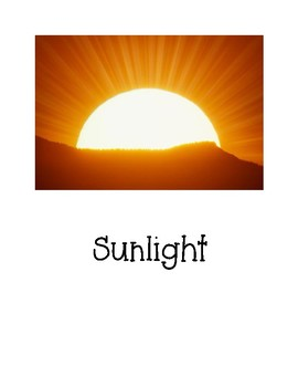 Sources of Heat - Graphic Organizer, Prediction Sheet, and Pictures