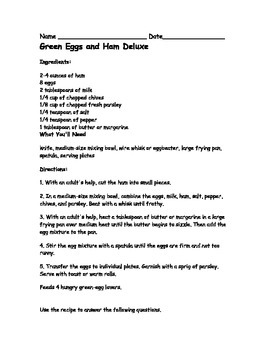 Sources of Information: Using a Recipe Comprehension Sheet