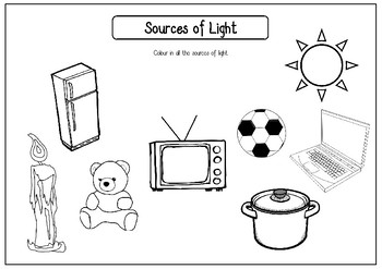 Sources of Light Worksheets (Artificial and Natural)