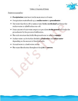 Environmental Science   Sources of Water   Assessment   Worksheets