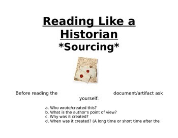 Sourcing Card: Reading Like a Historian