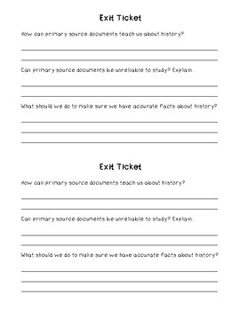 Sourcing Primary Sources Interactive Notebook Activity