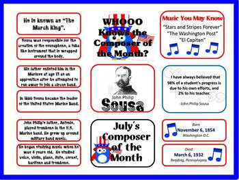 Sousa Composer of the Month (July) Bulletin Board