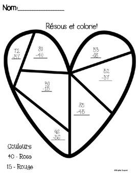 Saint-Valentin: Soustractions à deux chiffres