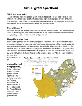 South African Apartheid Worksheets & Teaching Resources | TpT