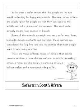 South Africa Copywork, Activities, and Country Booklet