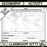South Africa Fact File Worksheet