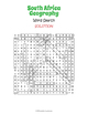 South Africa Geography Word Search Puzzle