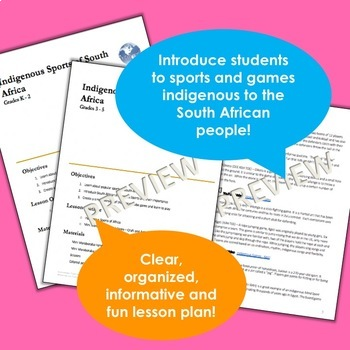 South Africa! - Traditional Sports and Games - No Prep Board Game Included!