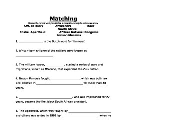 South Africa - Matching Vocabulary Worksheet