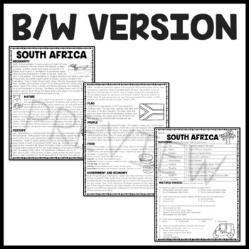 South Africa Overview Reading Comprehension; Africa; Country