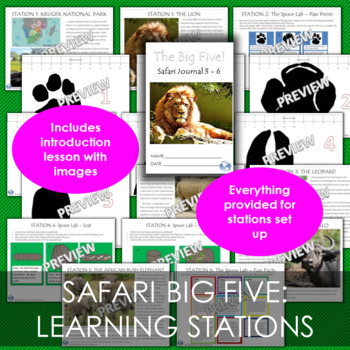 Africa Big Five Safari and Lion Craft Bundle - Lesson, Learning Stations, Art