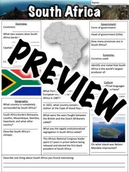 South Africa Worksheet