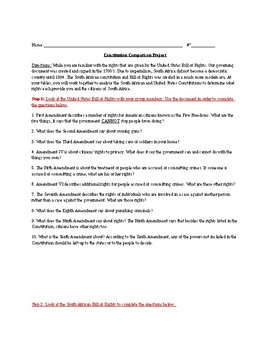 South Africa and United States Bill of Rights Comparison Project