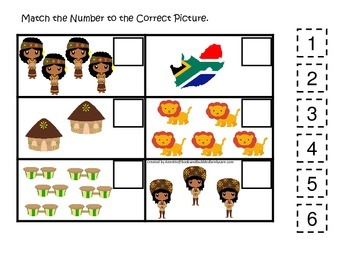 South Africa themed Match the Number preschool printable.  Homeschool daycare.