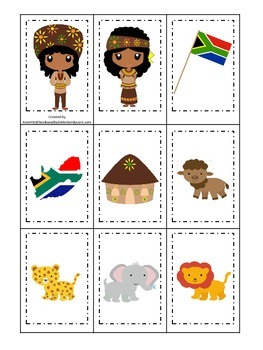 South Africa themed Memory Matching preschool learning game.  Daycare.