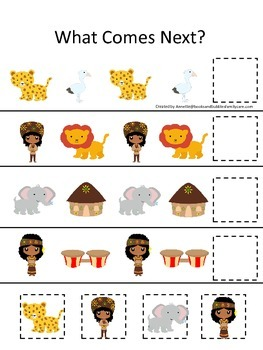 South Africa themed What Comes Next preschool educational learning game. Daycare