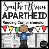 South African Apartheid Reading Comprehension Worksheet, DBQ, Nelson Mandela