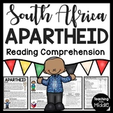 South African Apartheid Reading Comprehension Worksheet Nelson Mandela
