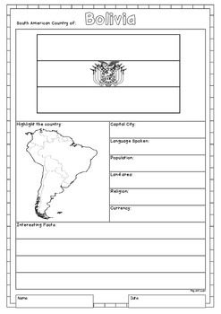 South America 12 Countries Study - worksheets flags and maps for each country