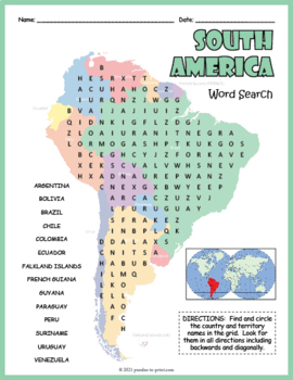 South America Geography Word Search