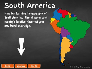 South America Geography Game for Smartboard or PC
