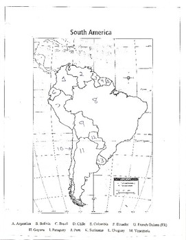 South America Blank Map, CW Puzzle & Test