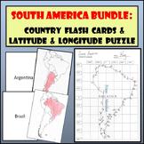 South America Bundle: Country Flash Cards and Latitude & Longitude Puzzle