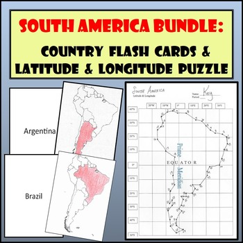 South America Bundle: Country Flash Cards and Latitude & Longitude Puzzle