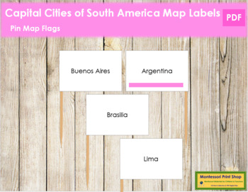 South American Capital Cities - Pin Map Flags (color-coded)