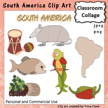 South America Clip Art - Color - personal & commercial use T. Clark